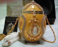 Vivian Alexander Faberge Inspired minaudière Ostrich Shell Evening Hand Bag by Foundtreasures4you on Etsy