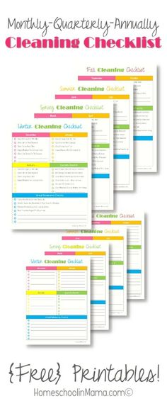Cleaning Checklist for your home - free printables!Monthly/Quarterly/Annually Cleaning Checklist for your home - free printables! Diy Cleaning Products, Cleaning Solutions, Cleaning Hacks, Cleaning Challenge, Office Cleaning, Speed Cleaning, Home Renovation, Printable Planner, Free Printables