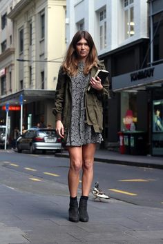 Girly n Grunge | Style Snaps | Sportsgirl Bring back 90s grunge with a floral dress paired with anorak and ankle boots. Shot by FOUREYES.