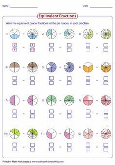 free fraction worksheets  homeschool  math fractions worksheets  equivalent fraction worksheets