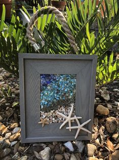 Starfish Wall Art-SunCatcher on Beachy Frame with Rope Hangar - Perfect for Any Room in Your Home or Office or as a Gift for A Beach Lover!  Bring summer and the seashore into your home with this unique coastal wall art/sun catcher! Crushed shell is bonded (not glued) to the glass with resin - add Nautical Prints, Nautical Wall Art, Coastal Wall Art, Starfish Art, Seashell Art, Turtle Gifts, Sea Glass Art, Window Art, Beach House Decor