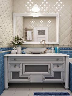 Дизайн квартиры в стиле прованс-4 Luxury Interior Design, Home Interior, Bathroom Interior, Provence Interior, Decoration, Double Vanity, Toilet, Sweet Home, House Design