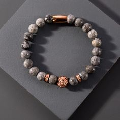 Funky Jewelry, Beaded Jewelry, Beaded Bracelets, Jewelry Ideas, Surfer Bracelets, Bracelets For Men, 18k Rose Gold, Stone Beads, Rose Gold Plates
