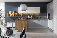kuchyňa: Iris vyhotovenie: Biela Vysoký Lesk / Perla Šedá Vysoký Lesk / Dub Arlington Decoration, Arctic, Kitchen, Table, House, Furniture, Home Decor, Decor, Cooking