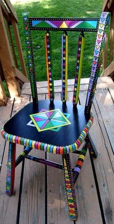 Painted Chair and other furniture, frames, etc. Hand Painted Chairs, Whimsical Painted Furniture, Hand Painted Furniture, Funky Furniture, Colorful Furniture, Art Furniture, Repurposed Furniture, Furniture Projects, Furniture Makeover