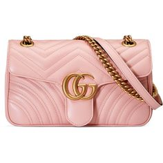 Gucci Gg Marmont Matelassé Shoulder Bag ($1,490) ❤ liked on Polyvore featuring bags, handbags, shoulder bags, gucci, light pink, women, pink leather handbags, genuine leather shoulder bag, leather handbags and pink leather purse
