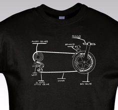 Funny Bicycle T Shirt Gift Bike Cycling Rider How it work NEW