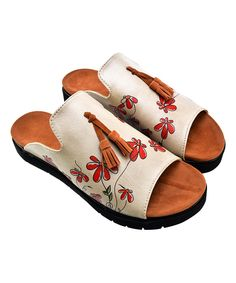 Take a look at this Red & Beige Floral Tasseled Sandal - Women today!