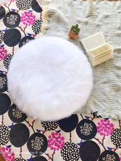 Round Fur pillow 20 inches decorative white fur white suede pillow ONE