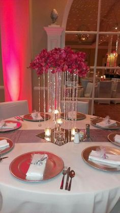 crystal wedding centerpiece arrangement, tall , wedding centerpiece-- Center piece for a table? Crystal Centerpieces, Elegant Centerpieces, Party Centerpieces, Chandelier Centerpiece, Bling Wedding Centerpieces, Bling Centerpiece, Crystal Wedding Decor, Crystal Decor, Wedding Table Decorations