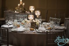 Romantic tiered rose gold goblets with tea lights and nude linens embrace the spring season #allertonhotel #chicagowedding #warwickhotels #love