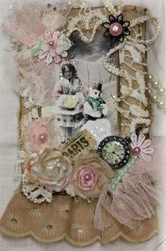 French Journal, Mixed Media Art Journal,Winter Art Book,Shabby Lace Scrapbook  Elite4u Khatsart