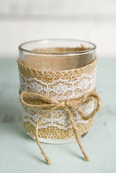 12 Burlap and Lace Votive Candle Holders