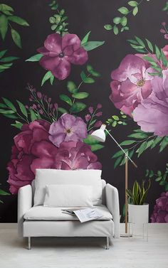 Add a new lease of life to your space with this purple & black floral wallpaper, a large scale flower design. Watercolor Wallpaper, Watercolor Walls, Tree Wallpaper, Dark Wallpaper, Floral Watercolor, Giant Flowers, Purple Flowers, Black Floral Wallpaper, Rose Violette