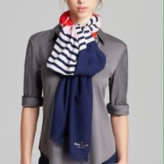 Kate spade color blocked scarf Beautiful authentic Kate spade seaside winter color blocked scarf. A soft, lightweight scarf softened with a dash of cashmere features appealing stripes and blocks of color for a fresh, lively look. kate spade Accessories Scarves & Wraps