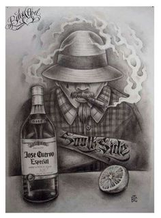 Jose Cuervo you are a friend of mine 🎶 I like to drink you with a little salt and lime 🎶 Chicano Style Tattoo, Chicano Love, Chicano Tattoos, Cholo Tattoo, Arte Cholo, Cholo Art, Chicano Drawings, Art Drawings, Arte Lowrider