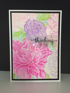 """This """"Thinking of You"""" card was made with the Peony Garden Background stamp by The Ton.  I colored with Zig Clean Color Real Brush markers.  Sentiment also by The Ton."""