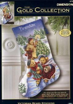 Victorian Bears Stocking Counted Cross Stitch Kit, Dimensions Gold Collection (large size kit) by on Etsy Cross Stitch Christmas Stockings, Cross Stitch Stocking, Christmas Stocking Pattern, Xmas Cross Stitch, Xmas Stockings, Counted Cross Stitch Kits, Cross Stitch Embroidery, Cross Stitch Patterns, Christmas Embroidery