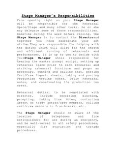 Stage Manageru0027s ResponsibilitiesFrom opening night on your Stage Managerwill be responsible for the Rehea.  sc 1 st  Pinterest & Simple lighting cue sheet for students. | Backstage Ideas ...