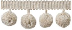 Jones Coastal Trimming Collection Pom Pom Fringe, Natural Linen