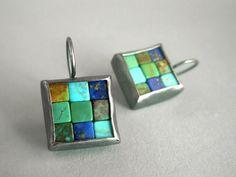 Mosaic Earrings Lapis Lazuli Turquoise & Silver by Artesserae