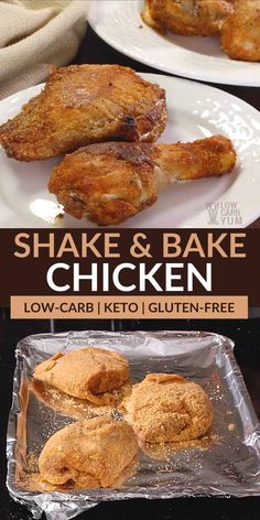 This simple gluten free shake and bake chicken recipe is low carb and paleo friendly. It's easily prepared in less than five minutes then baked.