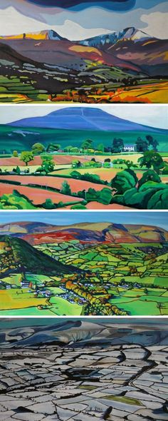Four paintings of the Brecon Beacons by Swansea artist Emma Cownie