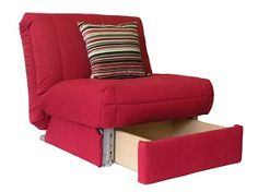 Leila Deluxe Chair bed + Storage on Sofabed barn Multi-purpose furniture the way it should be: chair, with storage, opens into a single bed!  That's what I mean!