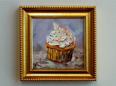 Small Oil Painting Cupcake Food Original Framed by NuuPaletteKnife