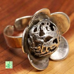 Vintage Textured Dome Flower Ring; Solid 950 Sterling Silver 10.3g; size 5.75 #HandmadebyAmericanArtist #Cocktail