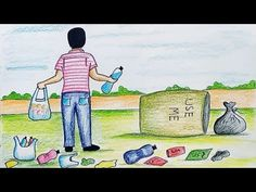 Drawing Pictures For Kids, Scenery Drawing For Kids, House Drawing For Kids, Drawing Lessons For Kids, Art Drawings For Kids, Animal Drawings, Poster On Pollution, Poster Color Painting, Poster Drawing