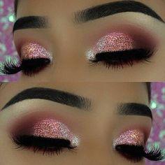 Pink Glitter Eye Makeup Look für Silvester - Makeup inspirations - Make Up New Year's Makeup, Pink Makeup, Cute Makeup, Glam Makeup, Gorgeous Makeup, Teen Makeup, Makeup 2018, Natural Makeup, Cheap Makeup