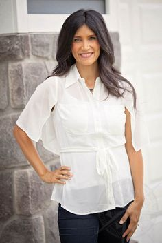 White Capelet Top #tie #waist #fallfashion #cape