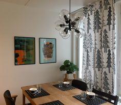 Joulu. Talviverhot Marimekko kuusikko. Marimekko, Curtains, Design, Home Decor, Blinds, Decoration Home, Room Decor, Draping