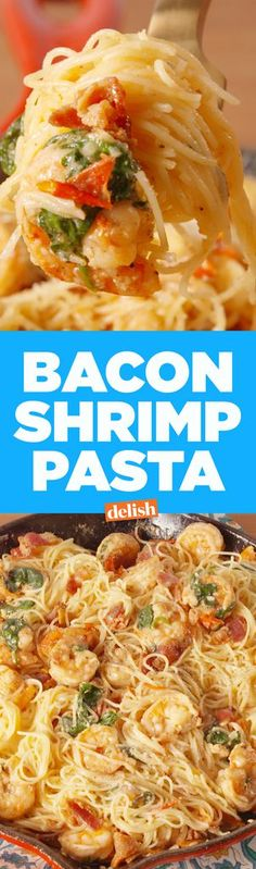Shrimp Pasta BRB, making this Bacon Shrimp Pasta every week from now until forever. Get the recipe from .BRB, making this Bacon Shrimp Pasta every week from now until forever. Get the recipe from . Best Shrimp Recipes, Shrimp Pasta Recipes, Fish Recipes, Seafood Recipes, Dinner Recipes, Cooking Recipes, Bacon Pasta, Paleo Dinner, Recipies
