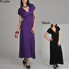 @Overstock - This feminine faux wrap dress features a classy v-neck design that can be worn casually and formally. The pull-on functionality of the dress makes it easy to get put on and the slightly stretchy material highlights all your best body parts.http://www.overstock.com/Clothing-Shoes/24-7-Comfort-Apparel-Womens-Faux-Wrap-Maxi-Dress/6789882/product.html?CID=214117 $39.99
