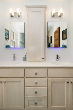 Bathroom Remodel With White Marble Countertop And Dark Wood Vanity - Bathroom vanities twin cities