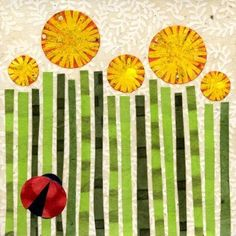 dandies in a field: sweet kate endle print of two of my favorite things - flowers and ladybugs