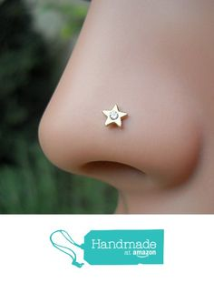 Diamond Nose Ring - Nose Stud - Nose Piercing - Nose Rings - Tragus Earring - Cartilage Earring 14K Solid Gold Star Set With a 1.5mm Genuine Diamond from Holy Land's Treasures http://www.amazon.com/dp/B01ADHJAM8/ref=hnd_sw_r_pi_dp_d9NLwb10SCHTC #handmadeatamazon