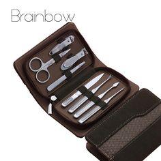 8pcs Brown Manicure Set, Pedicure Scissor Tweezer Knife Ear pick Utility Nail Clipper Kit, Stainless steel Nail Care Tool Sets