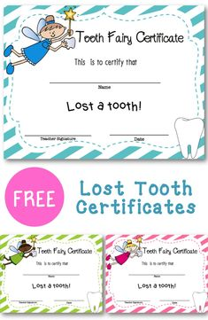 Celebrate your child or student losing a tooth with a this free printable certificate! If you anticipate him or her losing the tooth a day or two in advance, you could even pick up a frame to put t…