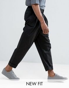 ASOS Wide Balloon Trousers In Black