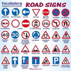 English vocabulary - bike ed road signs English Tips, English Study, English Words, English Lessons, English Grammar, Learn English, Learn French, English English, French Lessons