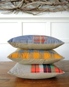 Modern Decorative Pillow in Linen/Flanned/Denim by bperrino