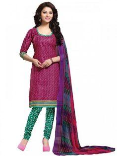 Sparkling Pink & Sea Green Coloured Printed Salwar Suit
