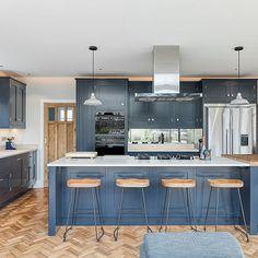 Open Plan Kitchen Dining Living, Living Room Kitchen, Fisher And Paykel Fridge, Kitchen Diner Extension, Parquet Flooring, Shaker Style, Country Kitchen, Interior Ideas, Kitchen Design