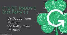 #StPatricksDay. Remember it is shamrock not clover. It is St Patrick's Day or St Paddy's Day but not St Patty's Day.