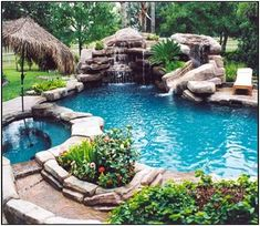 SWIMMING POOL WITH ARTIFICIAL CASCADE AND WATERFALLS