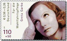 Selo alemão de 2001 em homenagem à Greta Garbo.