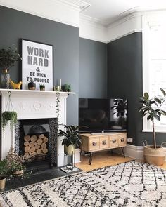 How to decorate your home with black paint. Black living room home decor. Scandinavian inspired living room decor inspiration Source by Viva_La_Villa Victorian Living Room, Mid Century Modern Living Room, Living Room Grey, Living Room Interior, Home Living Room, Living Room Designs, Living Room Ideas Terraced House, Living Room Decor Ideas With Fireplace, Bedroom With Fireplace